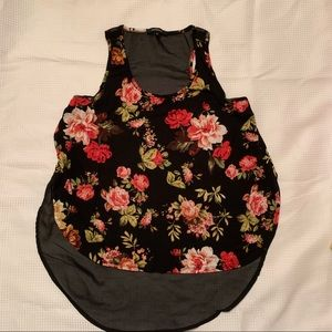 Razor back floral print shirt
